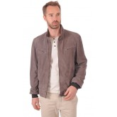 Gallotti Blouson Cuir Velours Taupe Homme Taupe