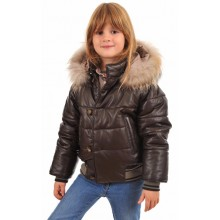 La Canadienne Doudoune Cuir Mixte Enfant Marron