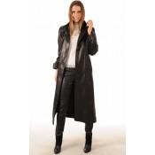 La Canadienne Manteau Long Cuir Femme Noir
