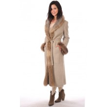 La Canadienne Manteau Long bordé Fourrure Femme Beige