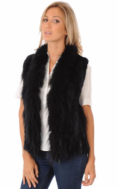 veste en fourrure lapin noir