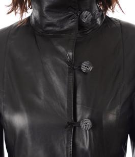 La Femme Canadienne Boutique Cuir Noir Veste Officielle Longue qpqgrO8P
