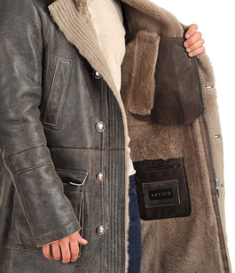 Fourrure Homme Lainée Gris En Et Peau Manteau Artico Nouvelle nqBgwOYA