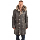 Artico Manteau en Peau Lainée et Fourrure Homme Gris