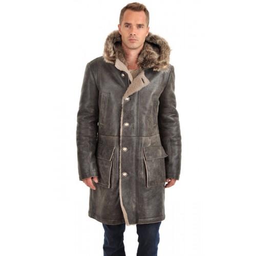 Nouvelle Artico Manteau En Peau Lainée Et Fourrure Homme Gris