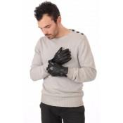 Chevignon Gants Cuir d Agneau Homme Noir