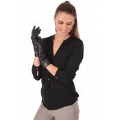 Fabre Gants Cuir d Agneau Femme Noir