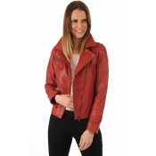Giorgio Blouson Cuir Rouge Coupe Perf Femme Rouge