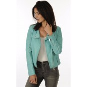 Giorgio Blouson Cuir Turquoise Style Perf Femme Turquoise