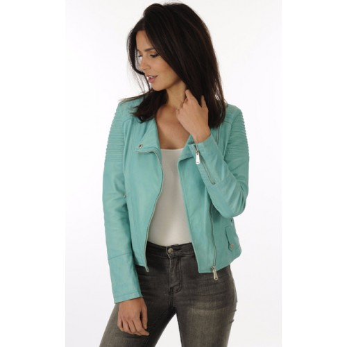 Femme Perf Blouson Cuir Boutique Giorgio Style Turquoise SBA7xqP