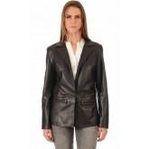 La Canadienne Blazer Cuir Coupe Confort Femme Noir