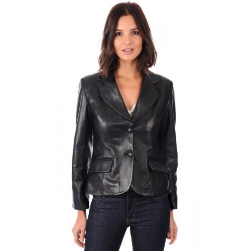 La Canadienne Blazer Cuir Femme Noir Soldes Nice