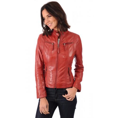 Blouson cuir rouge femme en solde