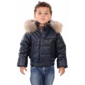 La Canadienne Blouson Cuir Mixte Enfant Bleu Foncé