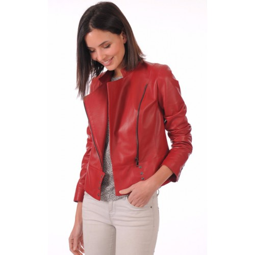 Femme La Blouson Style Perf Cher Canadienne Pas Cuir Provence Rouge F1qXwax1g