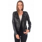 La Canadienne Blouson Style Perf en Cuir Clouté Femme Noir