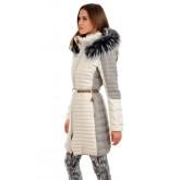 La Canadienne Doudoune Longue Bordée Raccoon Femme Blanc