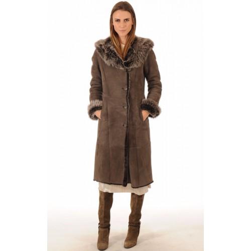 Lainée Long Manteau Peau La Taupe Femme Toscane Canadienne Privee Vente xIAqYx