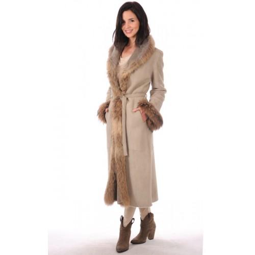 code promo commercialisable dernière mode La Canadienne Manteau Long Bordé Fourrure Femme Beige Soldes ...