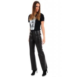 La Canadienne Pantalon Cuir Coupe 501 Femme Noir