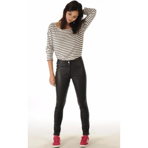 0ffc7eaed6e4b La Canadienne Pantalon Cuir Stretch Femme Noir Magasin Paris