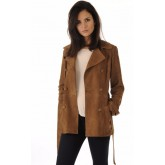 La Canadienne Trench Cuir Velours Tabac Femme Tabac