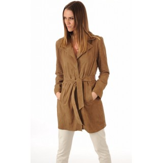 La Canadienne Trench Cuir Velours Taupe Femme Taupe