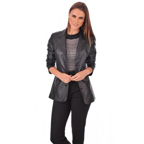 d06f1698a00f1 La Canadienne Veste Blazer Cuir Femme Noir Site Officiel