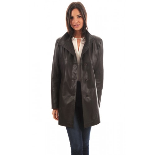 Veste longue cuir femme marron