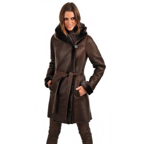 Manteau long femme mouton retourne