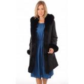 Levinsky Pelisse Réversible Textile et Renard Femme Noir