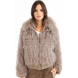 Lou Andrea Blouson Raccoon Femme Gris