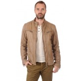 Oakwood Blouson Taupe Cuir Homme Taupe