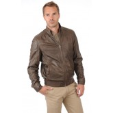 Trapper Blouson Sport Cuir Homme Taupe